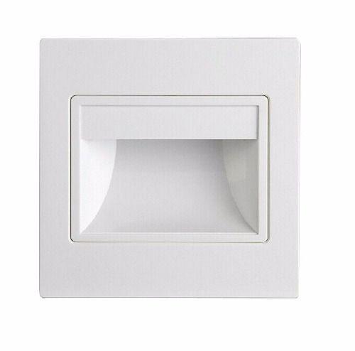 Balizador LED 3W De Embutir Quadrado Branco Frio
