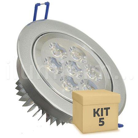 Kit 5 Spot Dicróica 7w LED Direcionável Corpo Aluminio