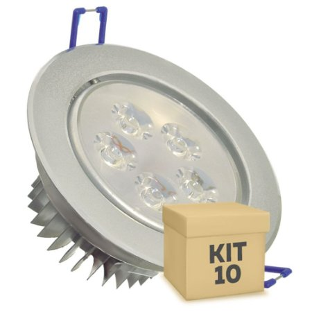 Kit 10 Spot Dicróica 5w LED Direcionável Corpo Aluminio