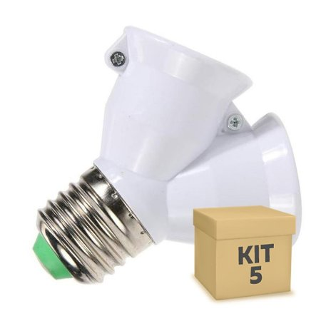 Kit 5 Adaptador Soquete LED E-27 Duplo