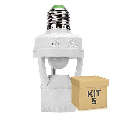 Kit 5 Sensor Presença Soquete E27 Automático