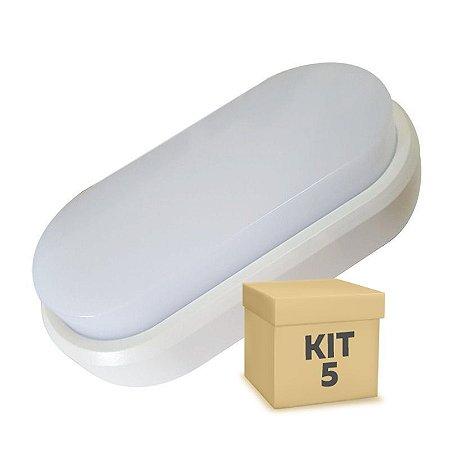 Kit 5 Luminaria Arandela LED 9W Sobrepor Branco Frio Tartaruga