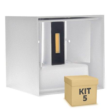 Kit 5 Luminária Arandela LED 10W Branco Quente Direcionável Cubo