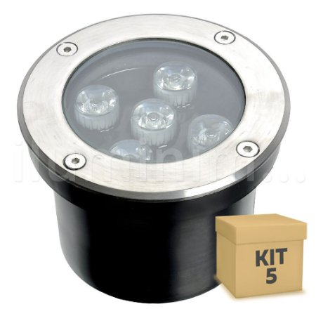 Kit 5 Spot Balizador LED 5W Branco Morno para Piso