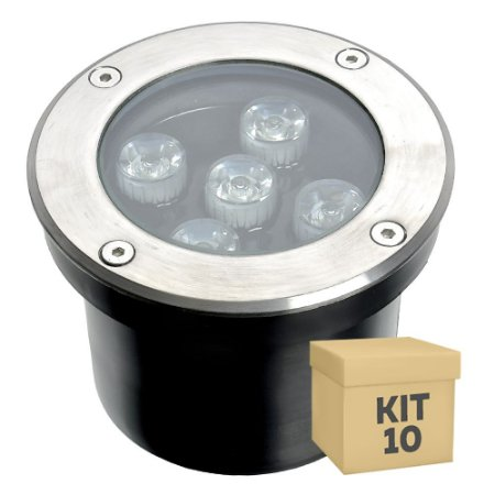 Kit 10 Spot Balizador LED 5W Branco Morno para Piso
