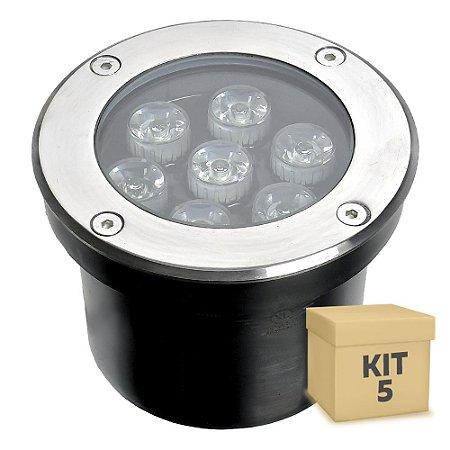 Kit 5 Spot Balizador LED 7W Branco Frio para Piso
