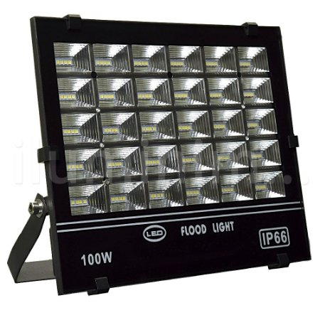 Refletor Holofote MicroLED 100W Multifocal Branco Frio Preto