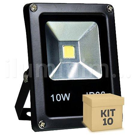 Kit 10 Refletor Holofote LED 10w Branco Quente Preto