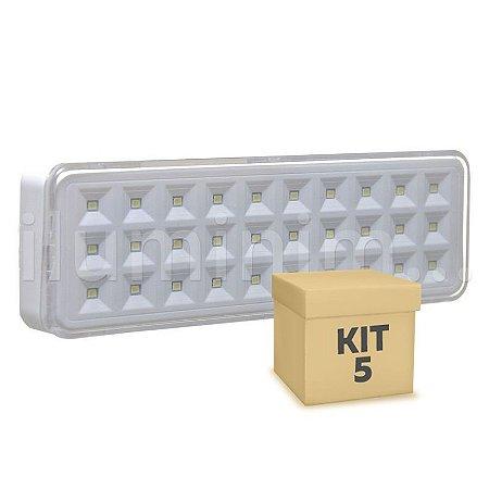 Kit 5 Luminária de Emergência 30 LEDs | Slim