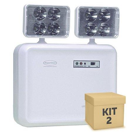 Kit 2 Luminária de Emergência LED 2.200 Lúmens | 2 Faróis