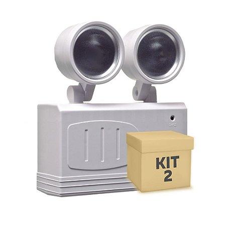 Kit 2 Luminária de Emergência LED 200 Lúmens | 2 Faróis