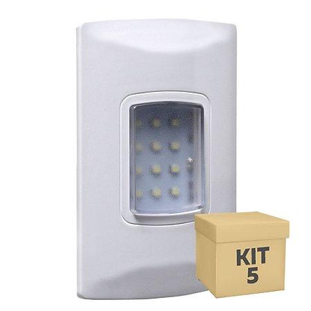 Kit 5 Luminária de Emergência 100 Lúmens | Embutir