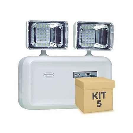 Kit 5 Luminária de Emergência LED 600 Lúmens | 2 Faróis