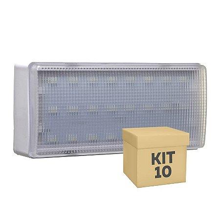 Kit 10 Luminária de Emergência 200 Lúmens | Premium