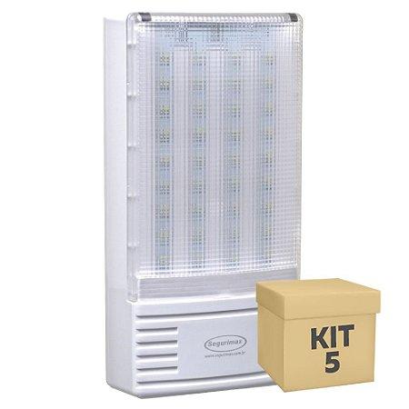 Kit 5 Luminária de Emergência 300 Lúmens | Premium