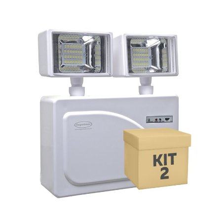 Kit 2 Luminária de Emergência LED 3.000 Lúmens | 2 Faróis