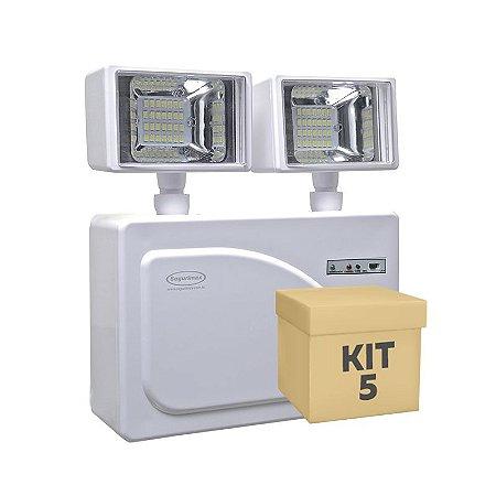 Kit 5 Luminária de Emergência LED 3.000 Lúmens | 2 Faróis