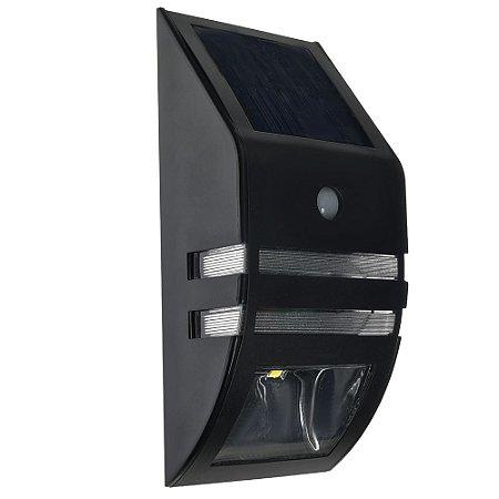 Luminaria Solar LED Sensor de Movimento 1W Preta