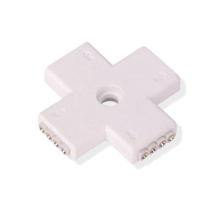 Conector Cruz 4 pinos para Fita Led 5050 RGB 10mm