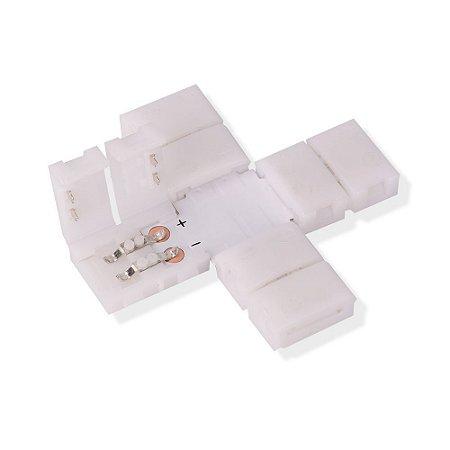 Emenda para Fita LED 3528 1 Cor em Cruz - 8mm