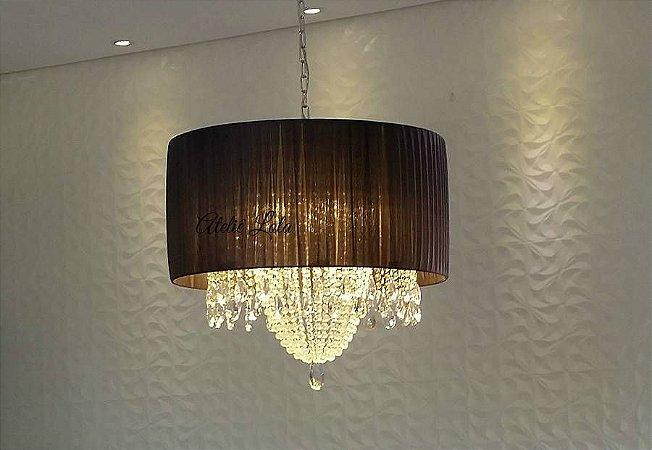 Lustre Pendente LED Cristal e Voil 50x25