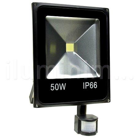 Refletor Holofote LED 50w Sensor de Presença Branco Frio Preto