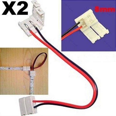 Conector para Fita LED 3528 8mm de Alta Capacidade - 2 Vias 2 Terminais
