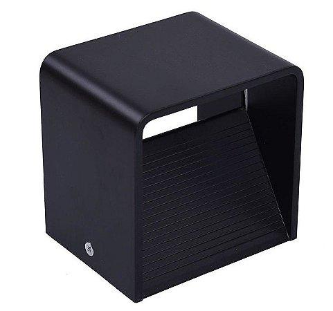 Luminária Arandela LED 6W Branco Quente Cubo Preta