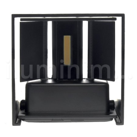 Luminária Arandela LED 6W Branco Quente Direcionável Cubo Preta