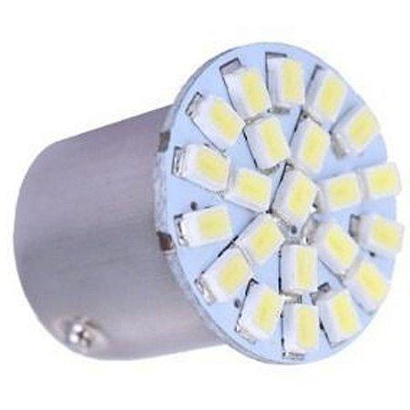 Lâmpada LED Automotiva Ba15S 22 Leds 1 Polo 5W 12V Vermelho