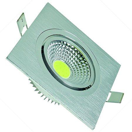 Spot LED COB 3W Quadrado Base Alumínio Branco Frio