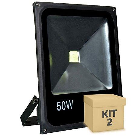 Kit 2 Refletor Holofote LED 50w Branco Frio Preto