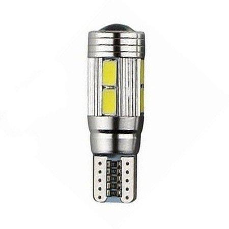Lâmpada LED Automotiva T10 5W Cambus Cree 10 Leds Branco Frio