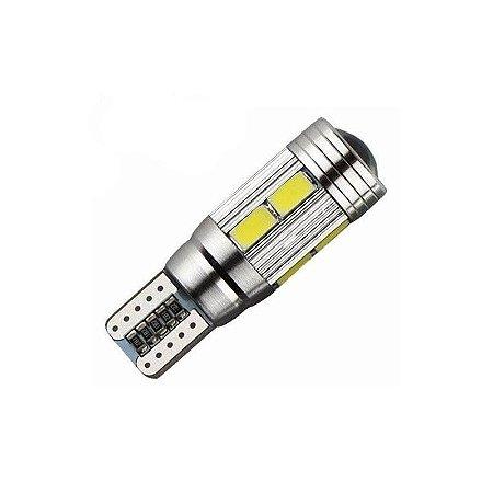 Lâmpada LED Automotiva T10 Cambus Cree 10 Leds Branco Quente