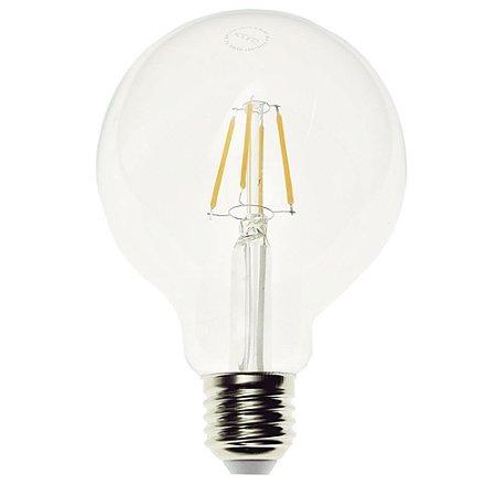 Lâmpada LED Globo G95 4W Cristal Branco Quente Filamento   Inmetro