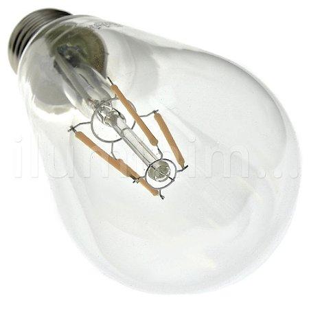 Lâmpada LED Pera ST64 4W Cristal Branco Quente Filamento   Inmetro