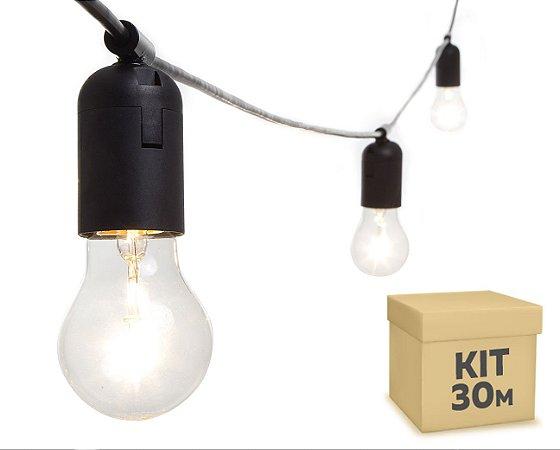 Varal de Luzes LED Preto 30 Metros