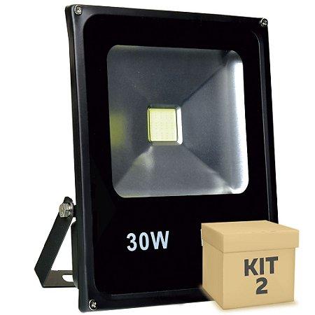 Kit 2 Refletor Holofote LED 30w Branco Frio Preto