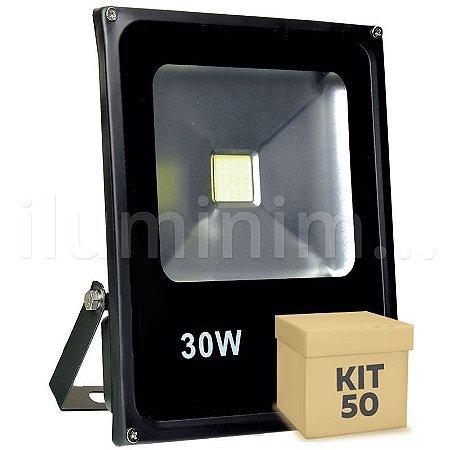 Kit 50 Refletor Holofote LED 30w Branco Frio Preto