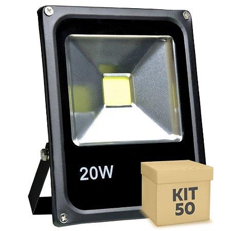 Kit 50 Refletor Holofote LED 20w Branco Frio Preto