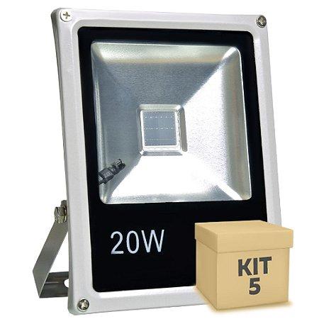 Kit 5 Refletor Holofote LED 20w RGB Colorido c/ Controle