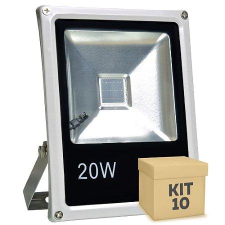 Kit 20 Refletor Holofote LED 20w RGB Colorido c/ Controle