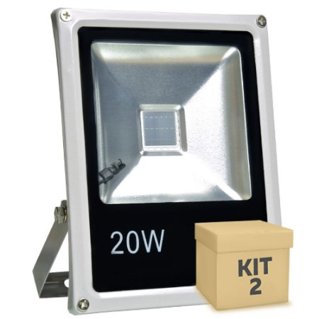 Kit 2 Refletor Holofote LED 20w RGB Colorido c/ Controle