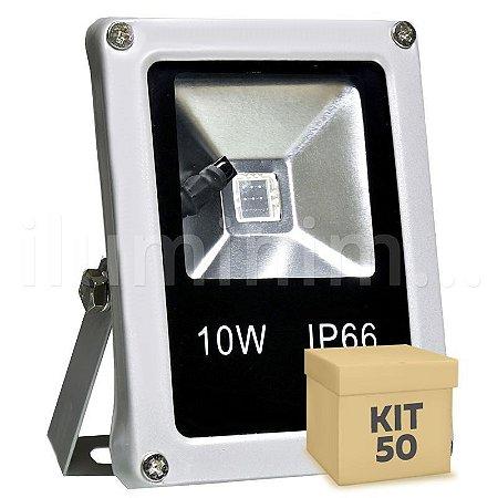 Kit 50 Refletor Holofote LED 10w RGB Colorido c/ Controle