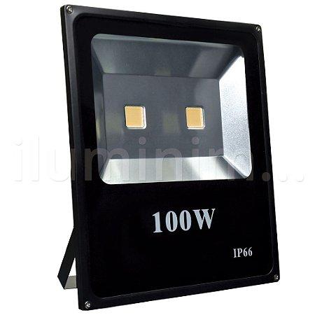 Refletor Holofote LED 100w Branco Quente Preto