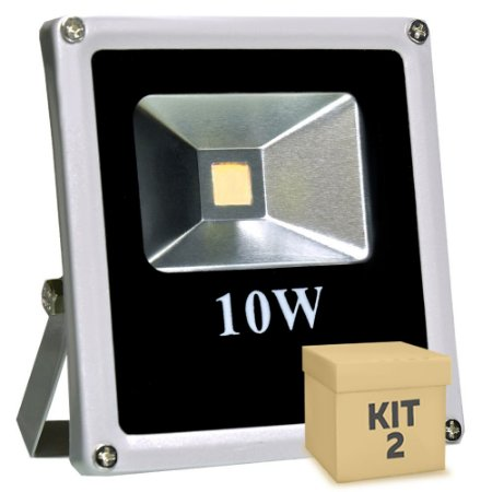 Kit 2 Refletor Holofote LED 10w Branco Frio