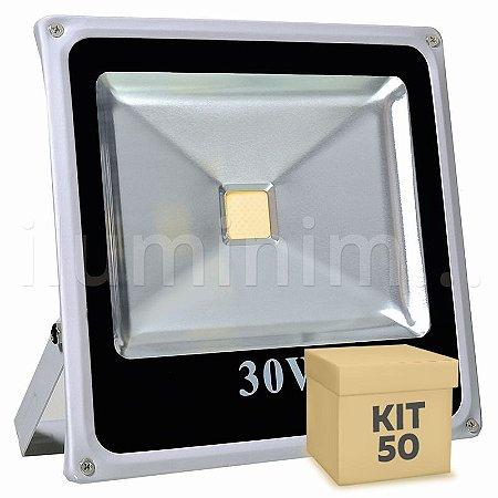 Kit 50 Refletor Holofote LED 30w Branco Quente