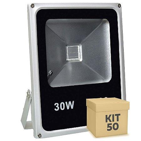 Kit 50 Refletor Holofote LED 30w RGB Colorido c/ Controle
