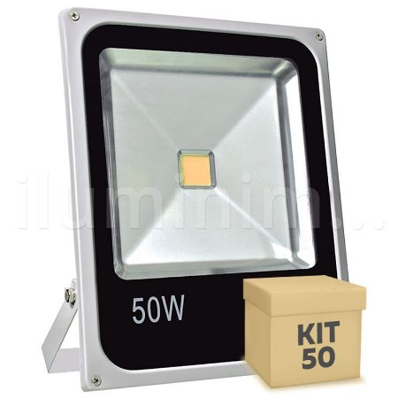 Kit 50 Refletor Holofote LED 50w Branco Quente
