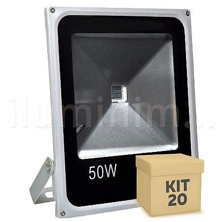 Kit 20 Refletor Holofote LED 50w RGB Colorido c/ Controle